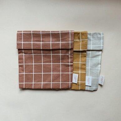 """Haps Nordic daugkartinis sumuštinių maišelis ,,Oyster grey check"""" 4"""