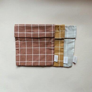 """Haps Nordic daugkartinis sumuštinių maišelis ,,Terracotta check"""" 3"""