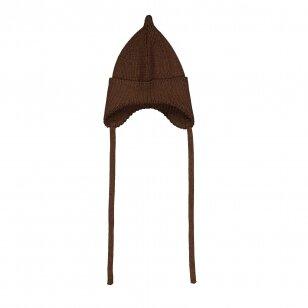 """Mainio kepurė iš merino vilnos su raišteliais ,,Walnut"""""""