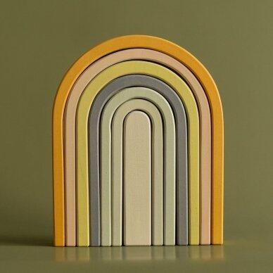 "Min Min Copenhagen medinė dėlionė ,,Pastel rainbow"""