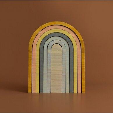 "Min Min Copenhagen medinė dėlionė ,,Pastel rainbow"" 2"