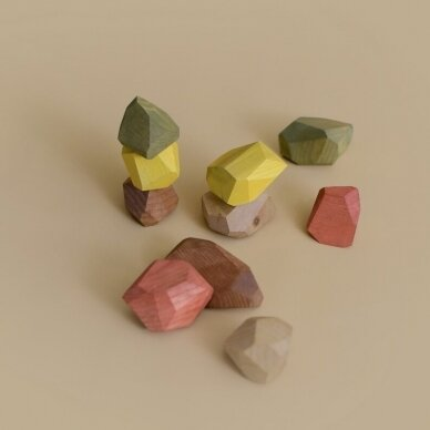 "MinMin Copenhagen medinės kaladėlės ,,Earthy stones"" 3"