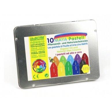 ökoNORM spalvotos aliejinės-vaško kreidelės metalinėje dėžutėje (10 spalvų) 2