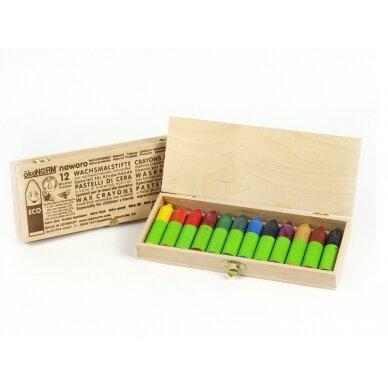 ökoNORM spalvotos bičių vaško kreidelės medinėje dėžutėje (12 spalvų) 3