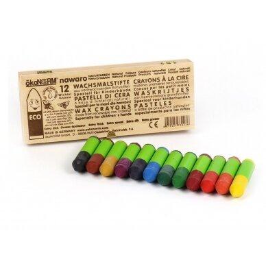 ökoNORM spalvotos bičių vaško kreidelės medinėje dėžutėje (12 spalvų)