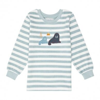 "Sense Organics kilpinio audinio pižama ,,Aqua stripes"" 3"