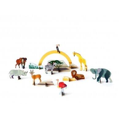 Studio ROOF perdirbto kartono rinkinys žaidimams ,,Savanna animals'