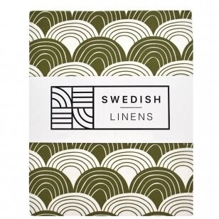 Swedish Linens paklodė ,,Rainbows: olive green""