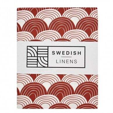"Swedish Linens paklodė ,,Rainbows: burgundy"" (60x120 cm)"