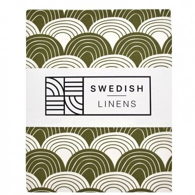 "Swedish Linens paklodė ,,Rainbows: olive green"""