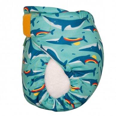"""TotsBots daugkartinės maudymosi sauskelnės ,,Rainbow whale"""" 3"""