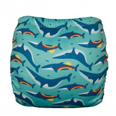 """TotsBots daugkartinės maudymosi sauskelnės ,,Rainbow whale"""" 2"""